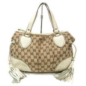 Auth Gucci Hand Bag Beige Canvas #6296G13